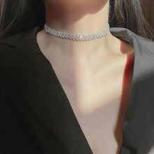 Женское Ожерелье чокер с кристаллами серебряного цвета