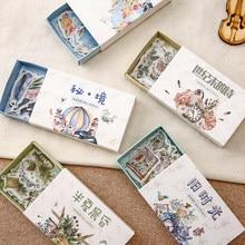 Yoofun 40 unids/caja Kawaii pegatinas embaladas en caja de dibujos animados bosque unicornio para álbum de recortes diario Deco pegatinas Retro