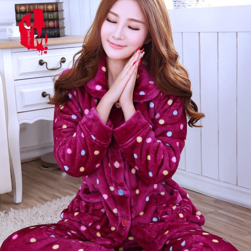 Sleepwear Women   Set   Winter Flannel Warm Solid Pijamas Women Thick Coral Fleece Pyjamas Woman Plus Size Long   Pajamas   For Female