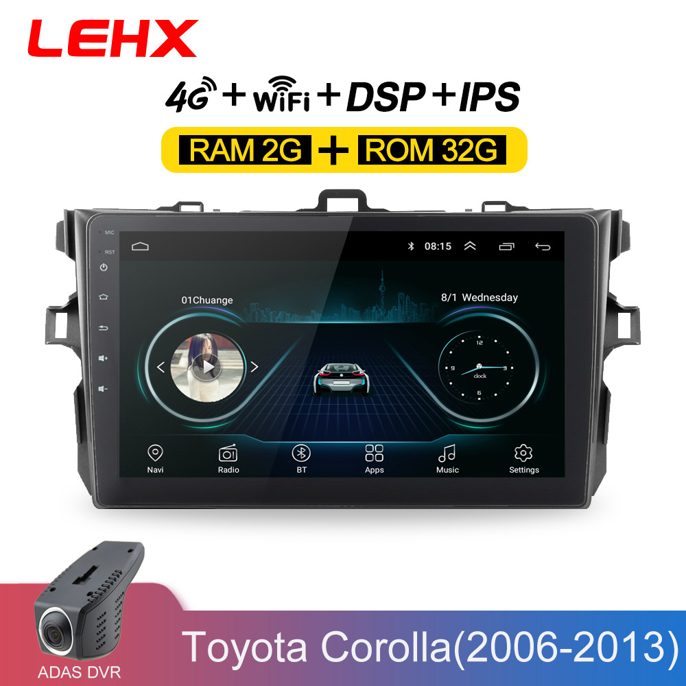 LEHX Car Radio Android 8.1 <font><b>Multimedia</b></font> Player For <font><b>Toyota</b></font> <font><b>Corolla</b></font> E140/150 2006 2007-2009 2010 <font><b>2011</b></font> 2012 2013 WIFI GPS Navigation image