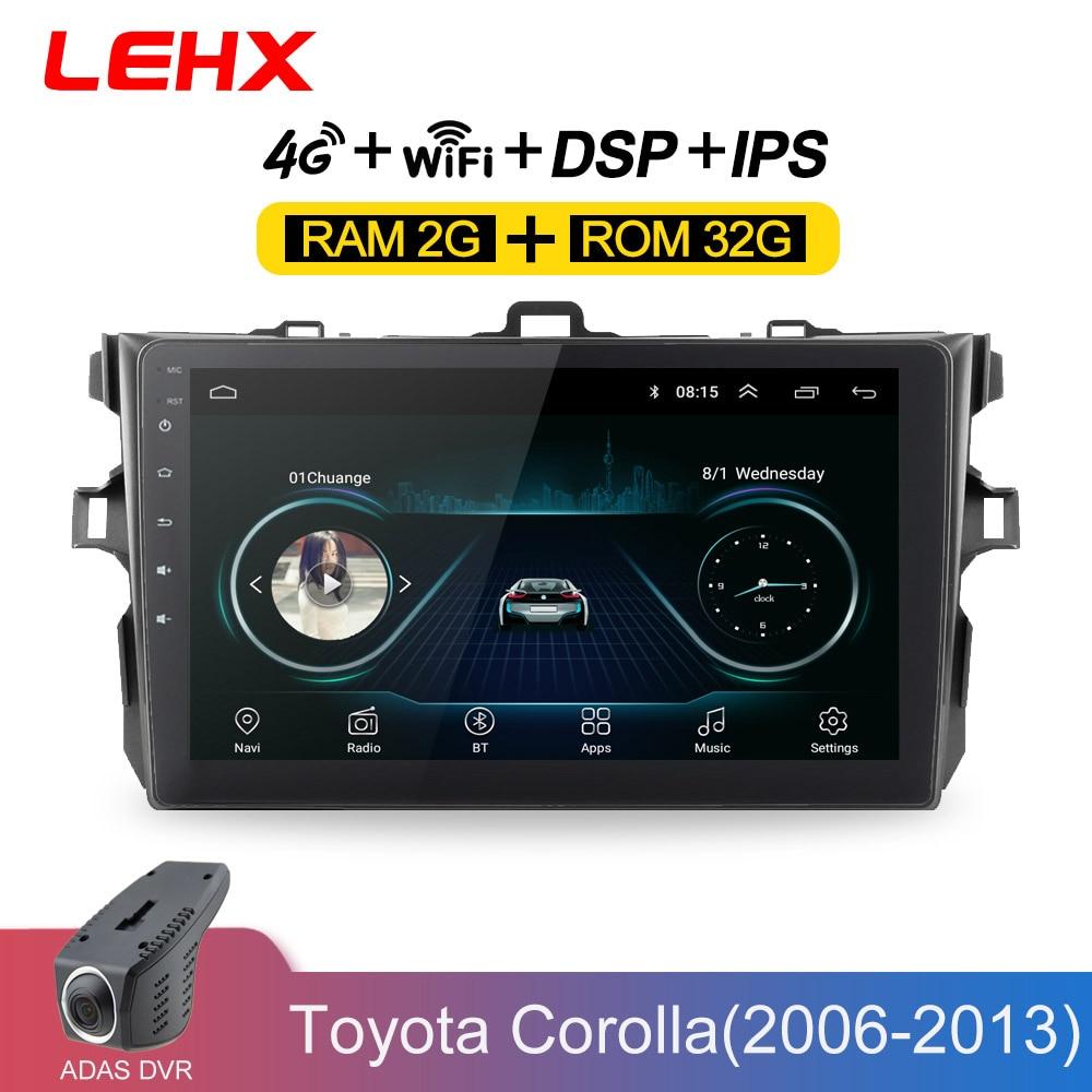 LEHX autoradio Android 8.1 lecteur multimédia pour Toyota Corolla E140/150 2006 2007-2009 2010 2011 2012 2013 WIFI GPS Navigation