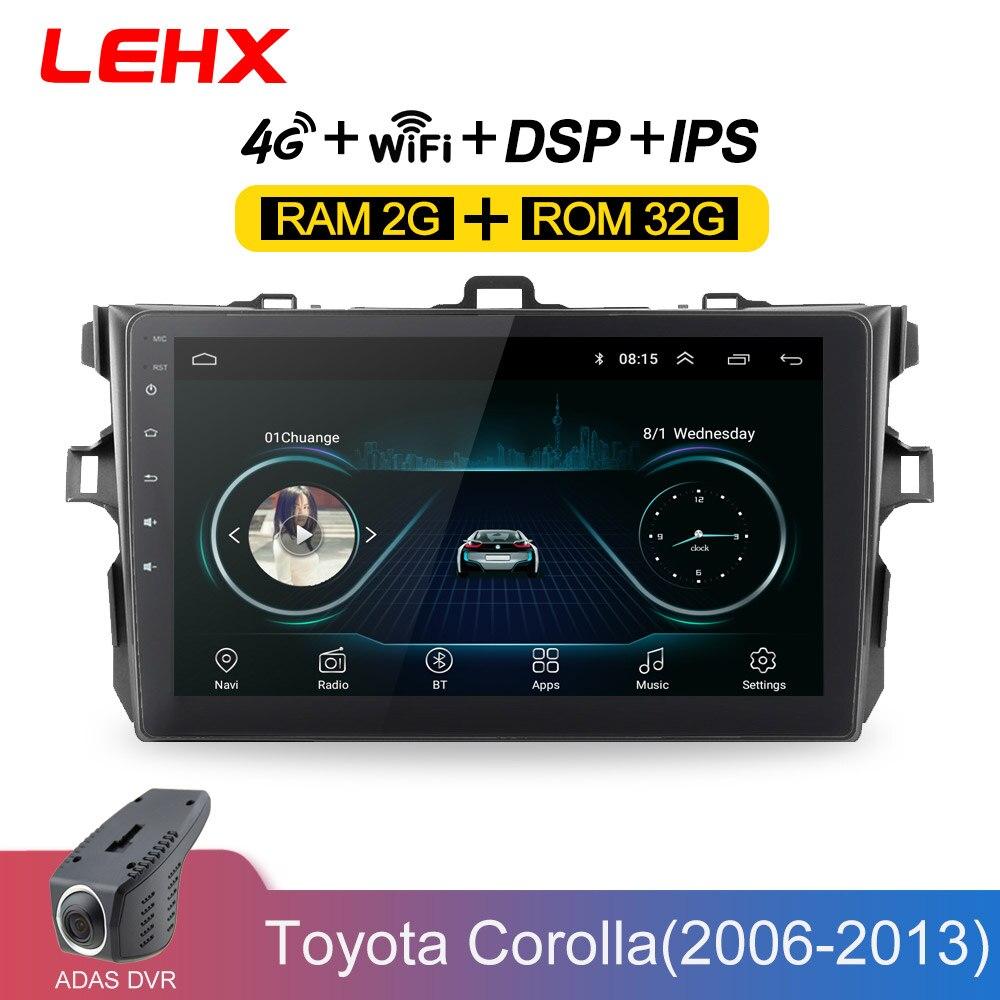 Lehx автомобиль радио Android 8,1 мультимедийный плеер для Защитные чехлы для сидений, сшитые специально для Toyota Corolla E140/150 2006 2007 2009 2010 2011 2012 2013, Wi Fi, GPS навигация