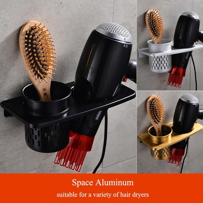 1 Set Space Aluminum Hair Dryer Holder Wall Mounted Hair Dryer Shelf For Bathroom Dressing Table 2in1 Storage Rack Organizer