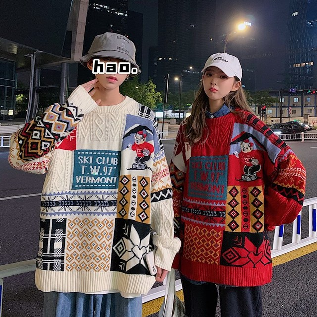 Women Sweater Autumn Winter Vintage Keep Warm Sweater Fashion O-Neck Full Thick Pullovers Couple Sweater 3