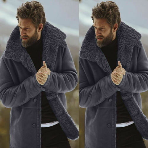 Men's Winter Synthetic Woolen Blend Lining Lamb Warm Jacket Overcoat Outwear Coat Parka Trench Coat Military Casual