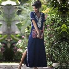 Vestido playero de algodón con bordado para mujer, Pareo de playa, Pareo, Sarong, ropa de playa # Q595