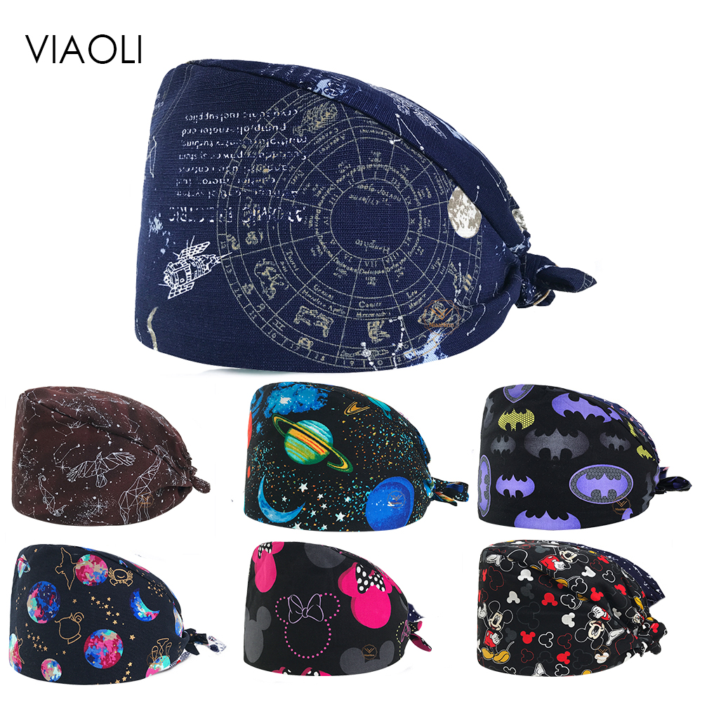 VIAOLI New Cotton Scrub Caps For Women And Men Hospital Medical Hats Print Cat In Black Tieback Elastic Section Surgical Caps