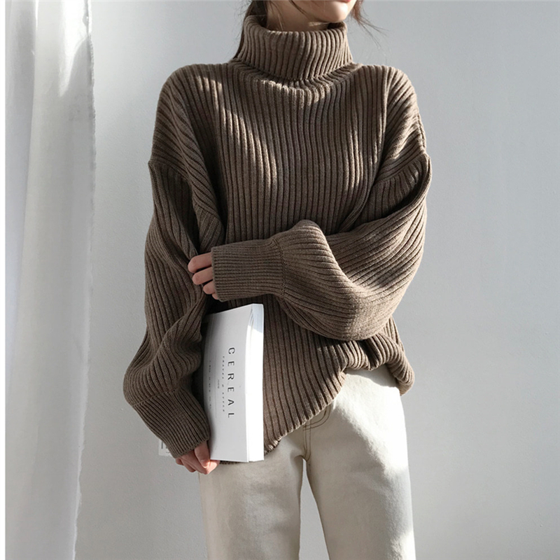 Neophil Oversize Knit Winter Women Pullovers Sweaters Turtleneck Lantern Sleeve Solid Basic 2019 Winter Casual Loose Tops W9112