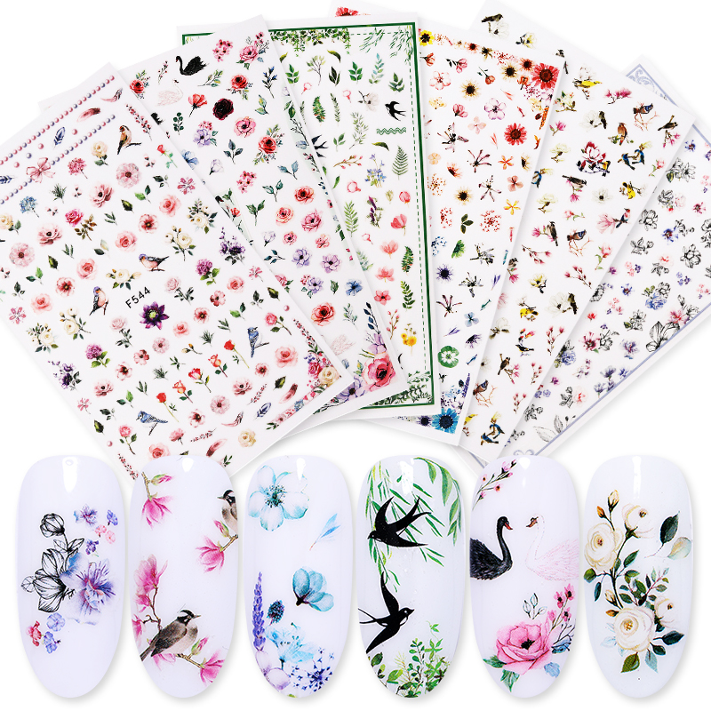 Leaf Floral 3D Nail Stickers Mixed Pattern Flower Animal Image Self-adhesive Transfer Decals Nail Decors Nail Tips DIY