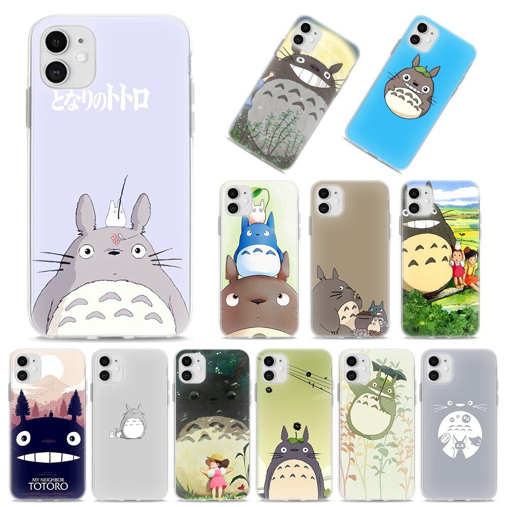 Silicone Case Coque for iPhone 11 Pro Max XR X XS MAX SE 7 8 6 6S Plus 5S 8 12 Pro 12 Mini TPU Cover Cute Studio Ghibli Totoro