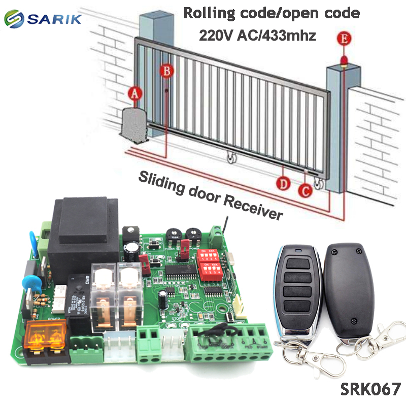 220v 433mhz rolling code sliding gate opener receiver board with 2PCS Wireless remote control