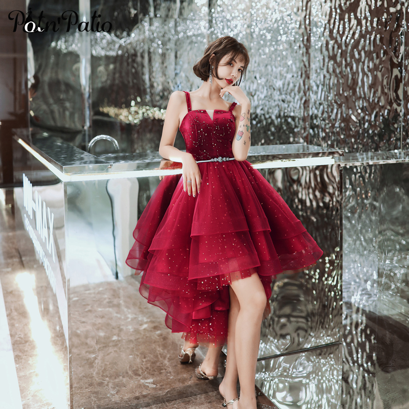 Sexy Spaghetti Straps Wine Red Tiered Short Prom Gowns 2020 Star Sequins High Low Graduation Dresses For 8th Grade