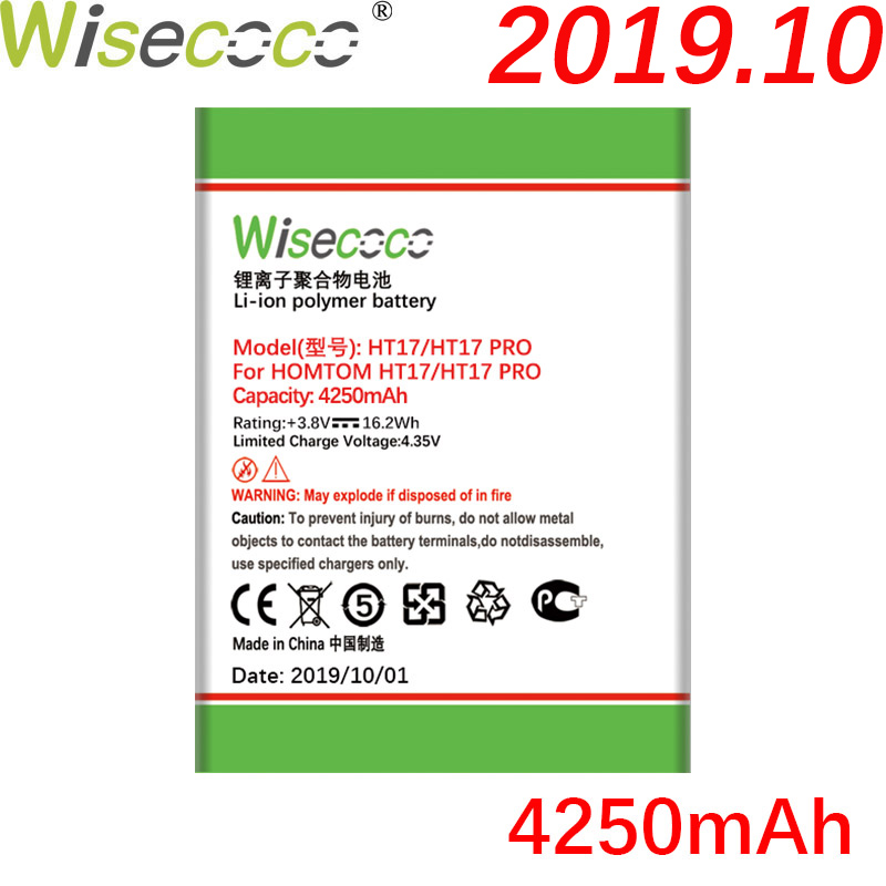 Wisecoco HT17 4250mAh Newly Production High Quality Battery For Homtom HT17 HT 17 Pro Phone Battery Replacement+Tracking Number(China)