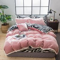 41 Fleece Fabric Bedding Set Velvet Flannel Duvet Cover Black White Zebra Pattern Bed sheet/Linen Pillowcase