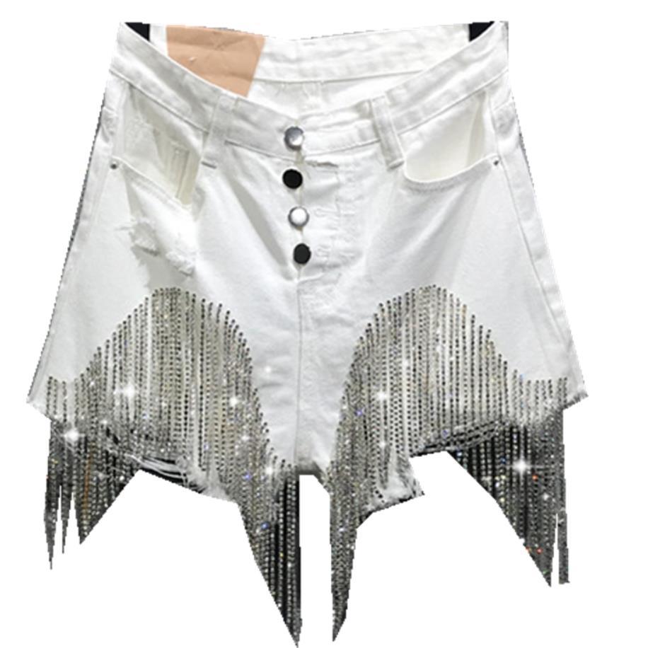 Summer Fashion White Single Breasted Denim Shorts Women High Waist Heavy Industry Diamond Tassel Jeans Shorts