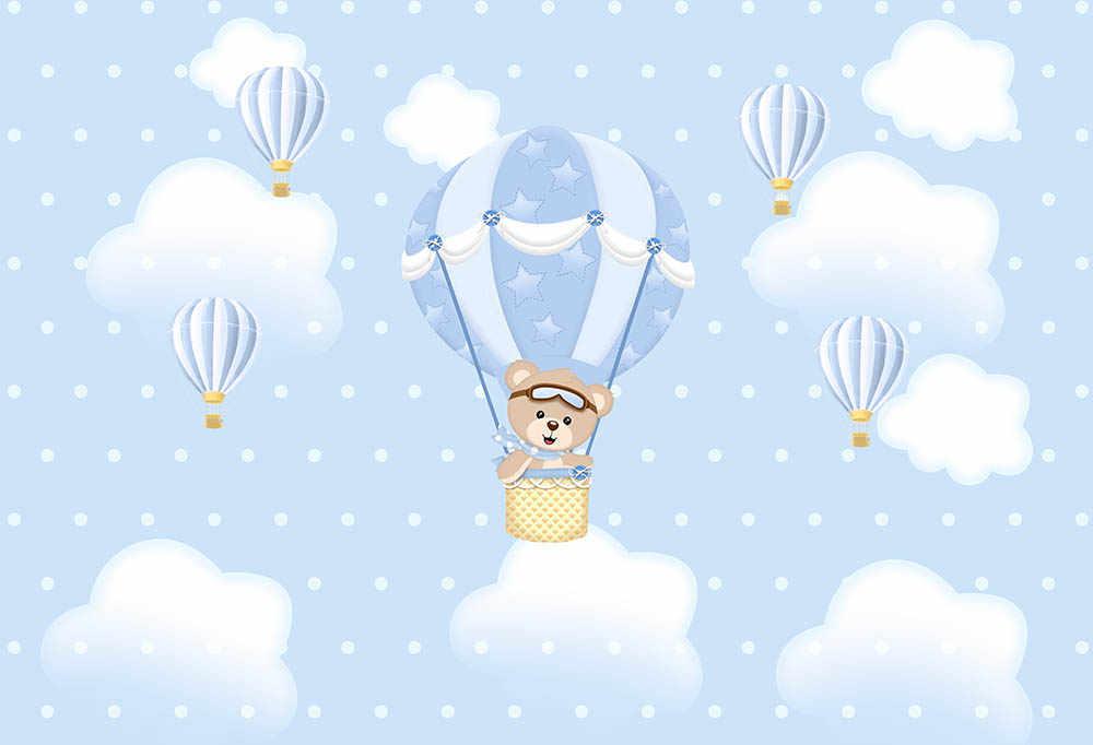 Away Photo Background Newborn Baby Boy Birthday Backdrop Baby Shower Hot Air Balloon Bear Clouds Background Aliexpress