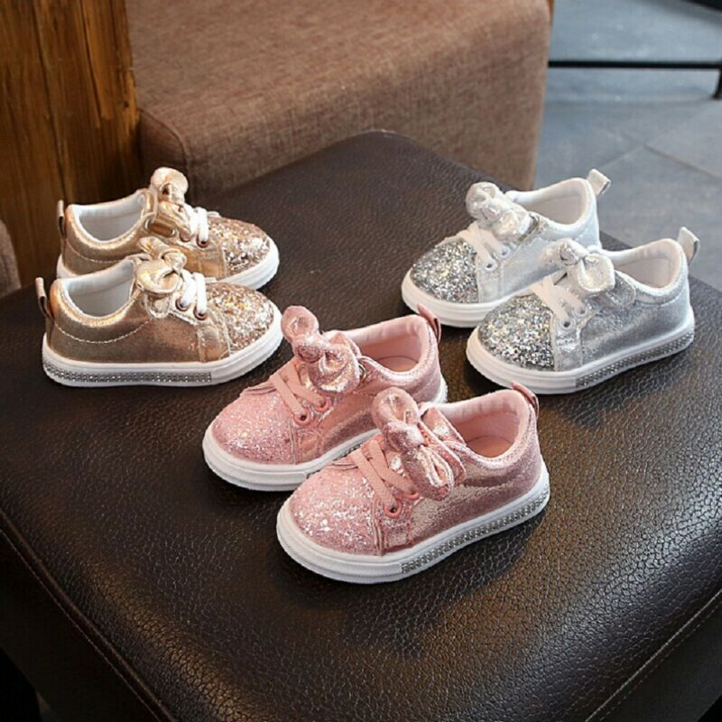 1-3Years Toddler Kids Baby Girls Bow Sequins Sneakers Casual Shoes Fashion Shinny Girls Flat Sole Shoes Bowknot Sport Shoes