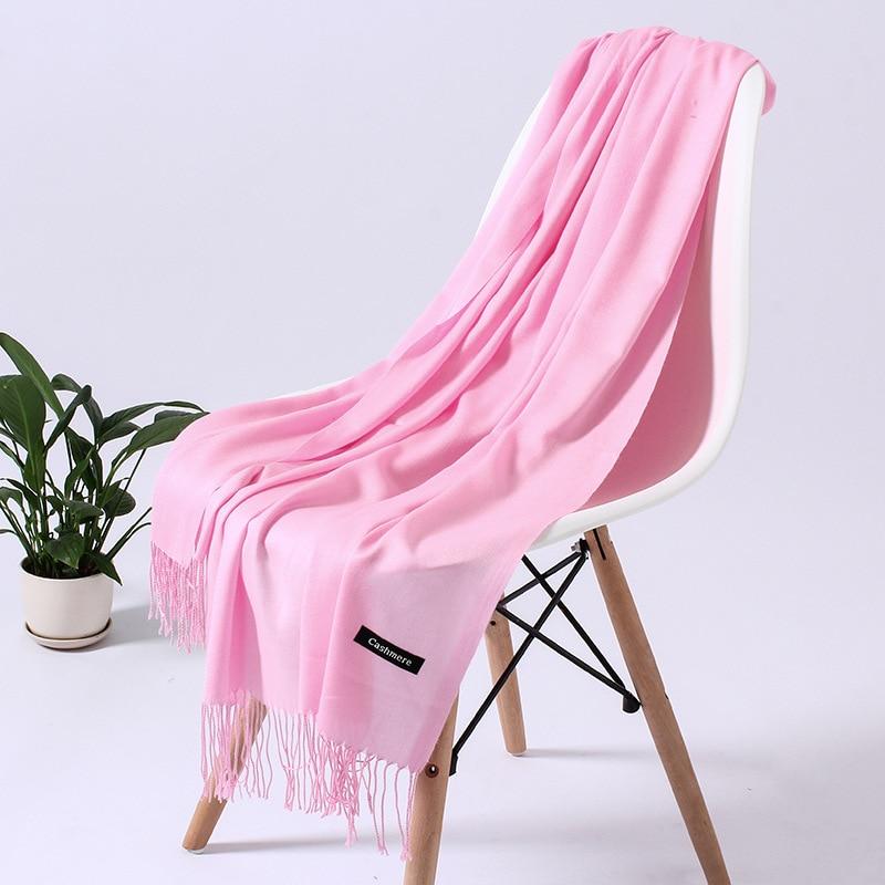Однотонный кашемировый шарф для женщин новые длинные мягкие шали и палантины пашмины модные хиджаб с кисточками женские шейные шарфы - Цвет: 110g pink