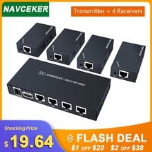 Süper kalite 200ft 1x4 HDMI dağıtıcı genişletici 60m üzerinde UTP RJ45 Cat5e Cat6 kablo desteği HD 1080P alıcıya 4 alıcıları