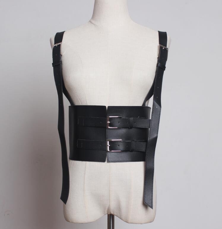 Women's Runway Fashion Vintage Punk Pu Leather Cummerbunds Female Dress Corsets Waistband Belts Decoration Wide Belt R1889