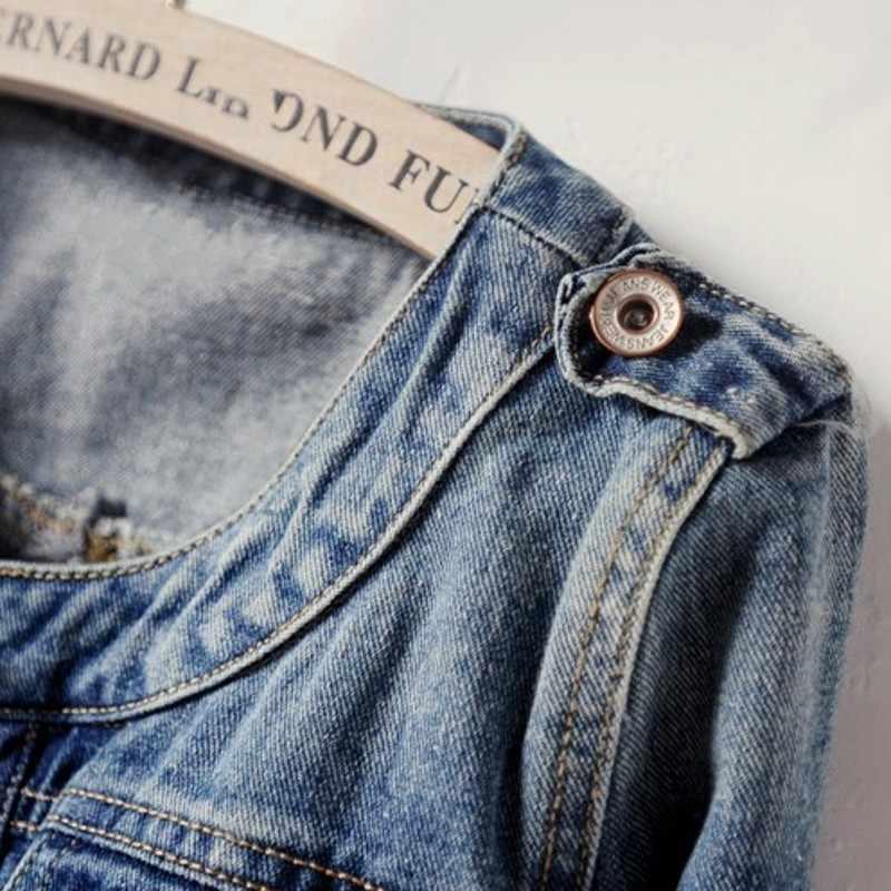 Mùa Xuân Mới Ngắn Cho Nữ Áo Khoác Jean Cổ Tròn Cổ Điện Đơn Giặt Áo Khoác Denim Plus Kích Thước 6XL Nữ Slim Fit áo Khoác