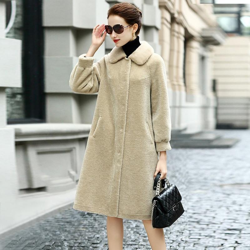 Women Clothes Autumn Winter Jacket Real Sheep Shearing Fur Coats Female Long Warm Spring Mink Fur Collar Parka LWL1378