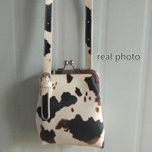 Милые женские маленькие сумки через плечо из коровьей кожи модные