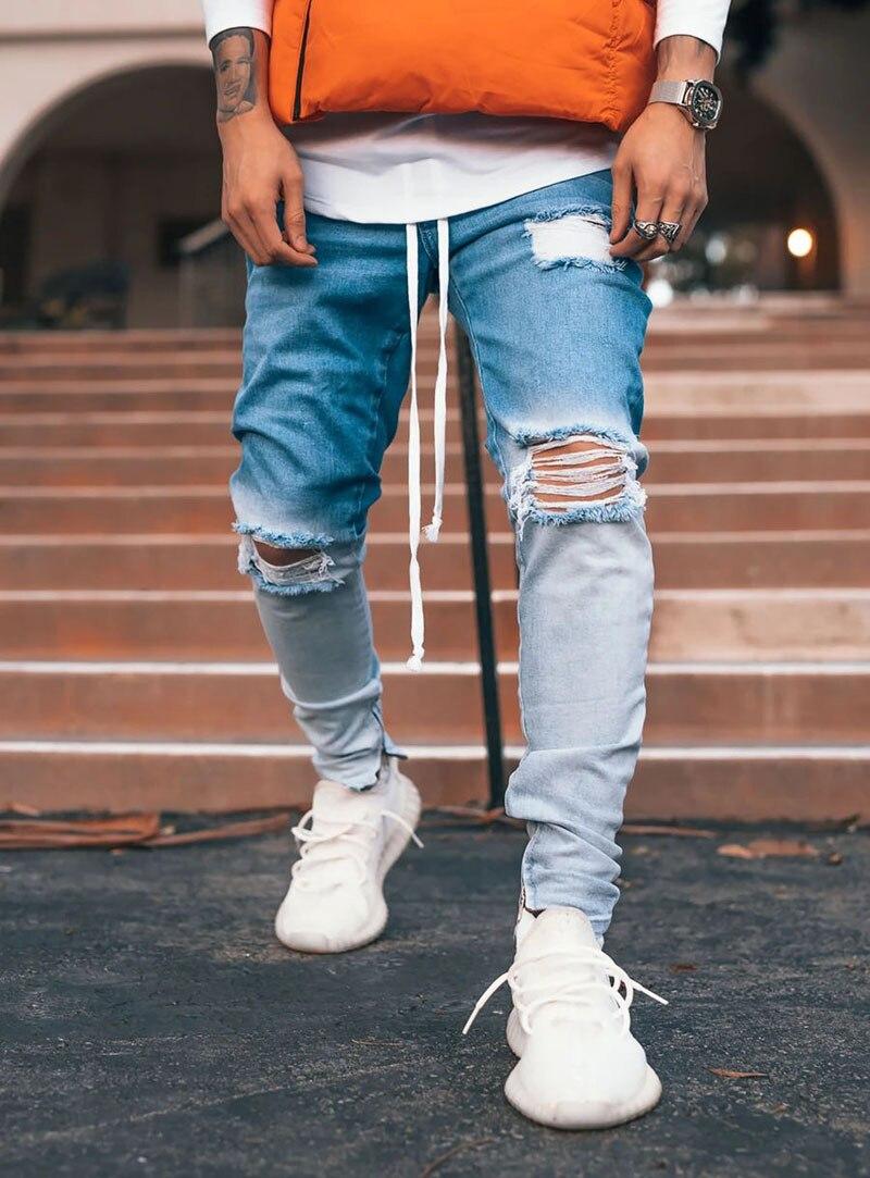 Gradient Color Ripped Jeans Men Casual Sport Joggers Jeans Mens Slim Motor Biker Hip Hop Zipper Denim Pants Trousers