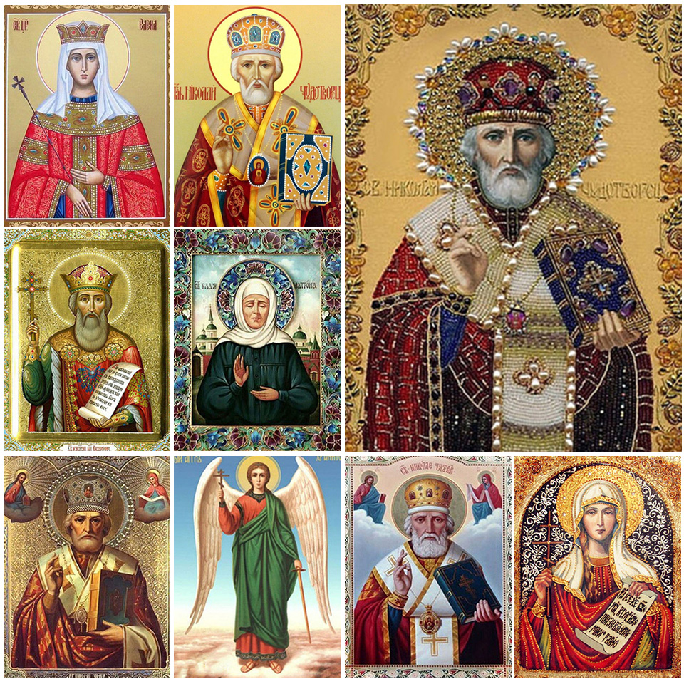 5D DIY Diamond Painting Religion Icons Cross Stitch Full Drill Square Diamond Embroidery Religious Mosaic Art Rhinestones Decor