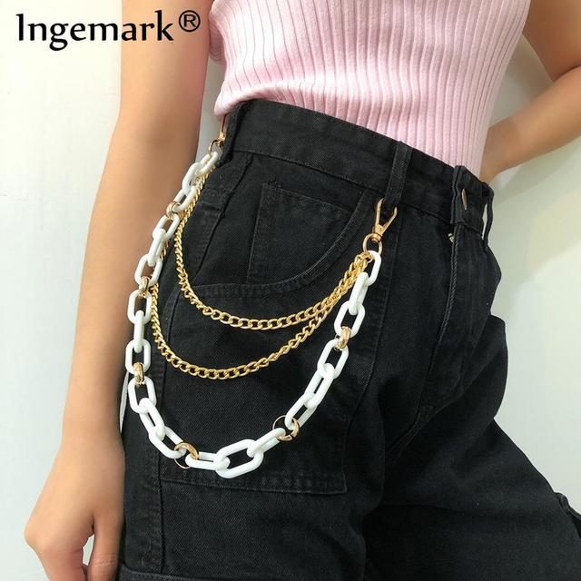 Punk Street Rock pantalons longs Hipster porte-clés rue acrylique portefeuille ceinture chaîne pantalon porte-clés femmes hommes Hip Hop bijoux cadeaux