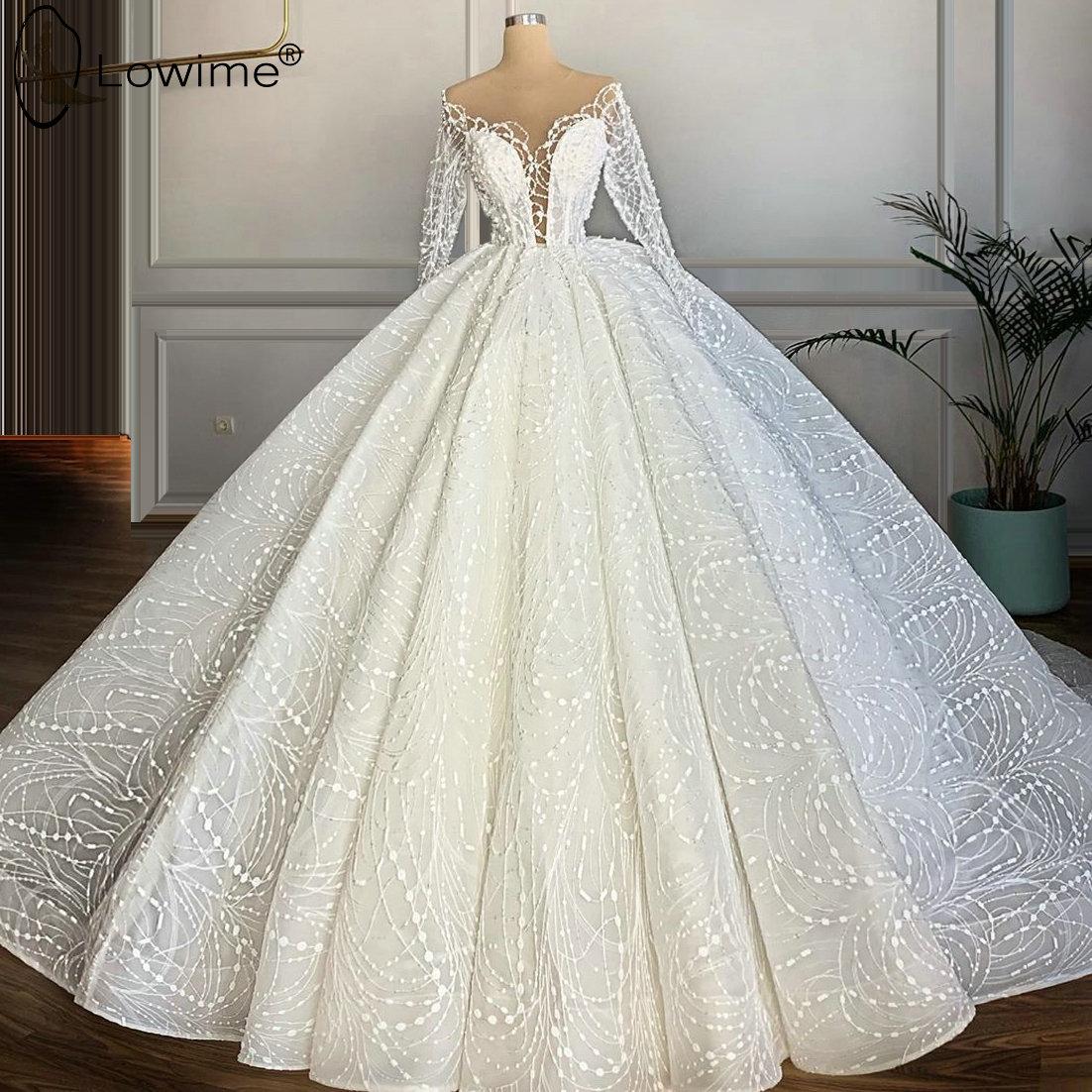Dubai Long Sleeve Lace Wedding Dresses 2020 Sheer O Neck Puffy Ball Gown Floor Length Bridal Gowns Vestido De Novias Mega Offer 3259dc Cicig