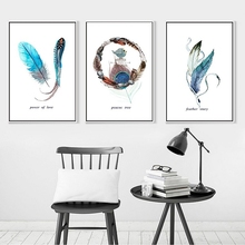 Abstract Canvas Painting Feather Art Prints for Living Room Paintings On The Wall Home Decoration