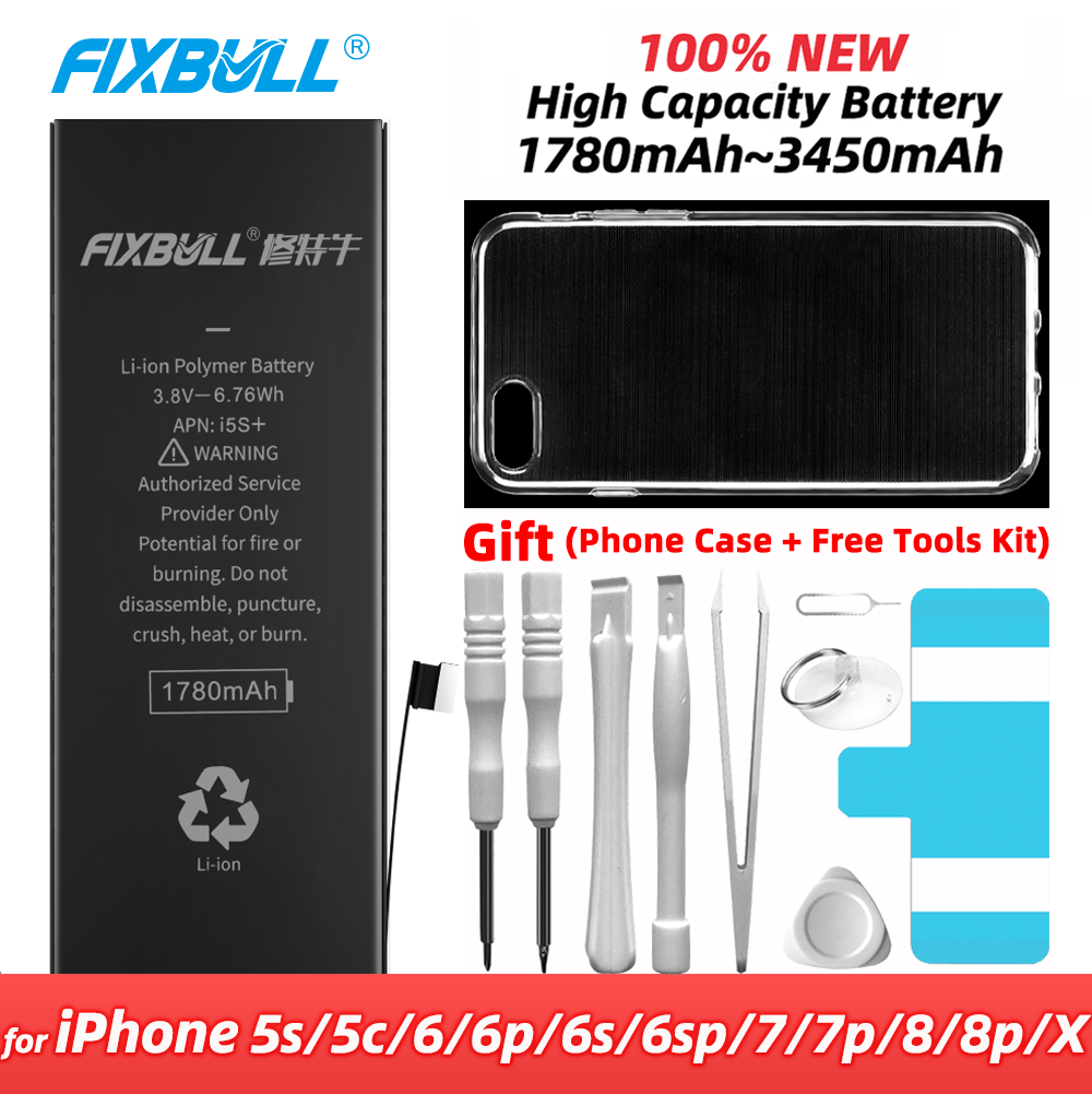 FIXBULL <font><b>Battery</b></font> For <font><b>iPhone</b></font> 5S 5C 6 <font><b>6S</b></font> 7 8 Plus 5s X 6Plus 6SPlus 7Plus 8Plus Replacement Bateria Real <font><b>High</b></font> <font><b>Capacity</b></font> For iPhone5S image