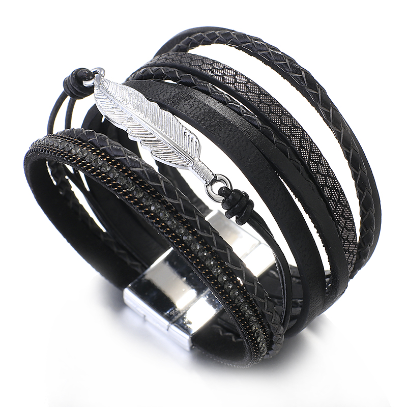 Amorcome Metal Feather Genuine Leather Bracelet for Women Jewelry Fashion Multilayer Bohemian Charm Wide Bracelets & Bangles 3