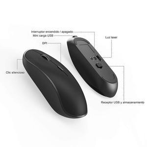 Image 3 - Clavier et souris sans fil, disposition espagnole, batterie rechargeable, connexion USB stable, adapté pour ordinateur portable, ordinateur, gris