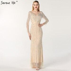 Image 2 - Schwarz Luxus Sexy Abendkleider 2020 Schlank Mermaid Quaste Perlen Langen Ärmeln Abendkleider Für Frau LA60716