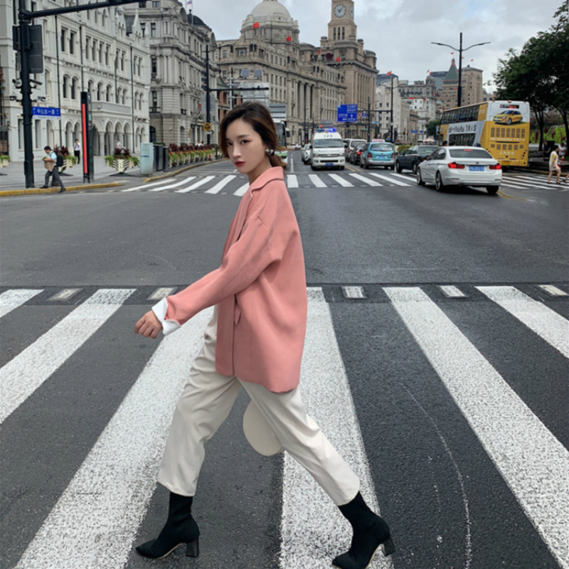 2020 Autumn Blazer Women Oversize Pink Black Korean Style Office Jacket Loose Casual Outwear