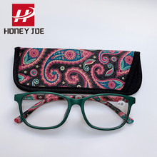 Womens vintage bolso impresso óculos de leitura com bolsa mola dobradiça presbiopia óculos de leitura + 1.0 1.5 2.0 2.5 3.0 3.5 4.0