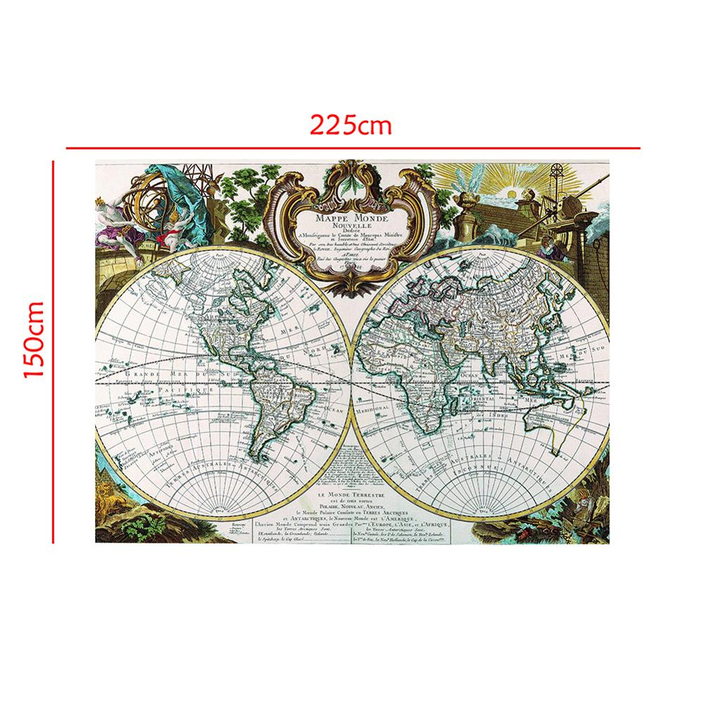 150x225cm Mappe Monde Nouvelle Medieval Vintage French Map For Culture And History Research