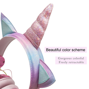 Image 3 - เด็กตลกชุดหูฟังที่มีสีสันเพชรยูนิคอร์นหูฟังสาวเพลงหมวกกันน็อคแบบมีสายหูฟังของขวัญกล่องChristmas Brithday