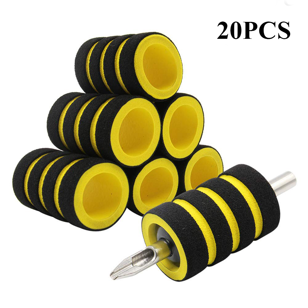 20Pcs Yellow Memory Foam Tattoo Grip Covers 22mm Tattoo Pen Cover Tattoo Machine Grip Handle Holder Cover Tattoo Accessories