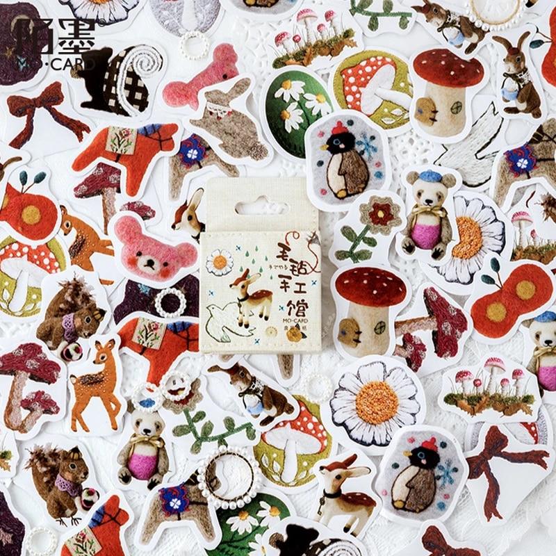 46pcs Kawaii Cats Adhesive Stickers Journal Scrapbooking Diy Label Seal Sticker