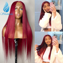 SHUMEIDA 13x6 Lace Front Human Hair Wigs 99J Straight