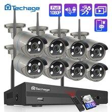 H.265 8CH 1080P Wireless NVR Kit CCTV Sicherheit System 2MP IR CUT Außen Two Way Audio Wifi Kamera P2P Video überwachung Set