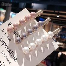 Fashion Women Imitiation Pearl Hair Clips Girls Simple Barrettes Accessories Korean Style Metal Flower Headdress