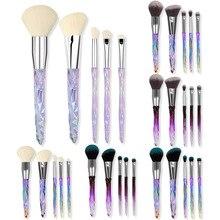 цена на 5 transparent handle diamond makeup brush set crystal makeup rinse set foundation eye shadow brush