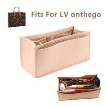 Se adapta a onthego bolsa de inserción de tela de fieltro organizador de maquillaje bolso shaper on the go organizador bolsas de cosméticos portátiles