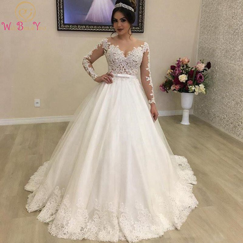2020 Luxury Lace Princess Ball Gown Wedding Dresses Sheer Neck Illusion Long Sleeves Appliques Sweep Train Bridal Gowns Country