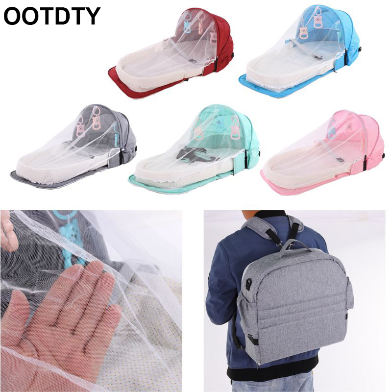 Portable Backpack Bed With Toys For Baby Foldable Baby Bed Travel Sun Protection Mosquito Net Breathable Infant Sleeping Basket