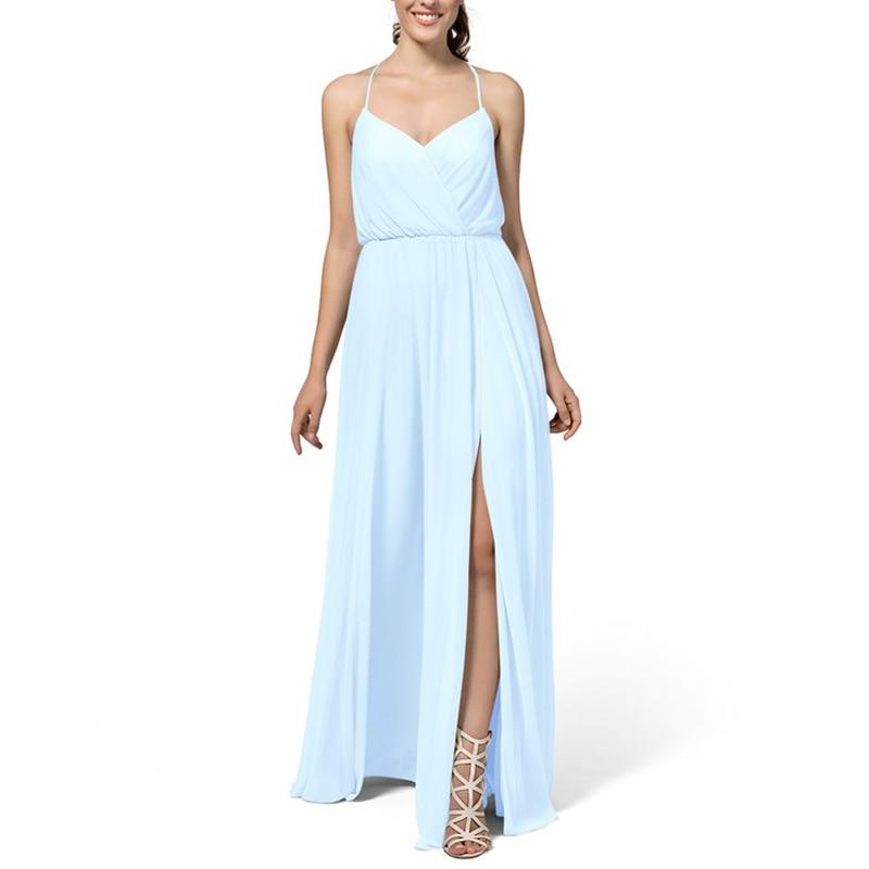 Guest Dress MulMulberry Halter Bridesmaid Dresses Spaghetti Strap Chiffon Wedding  Side Split Vestidos De Festa Party Dress